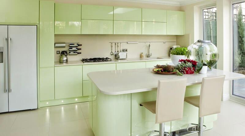 Mẫu sơn nội thất phòng bếp đẹp màu ngọc bích